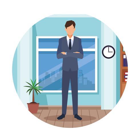 executive man cartoon vector