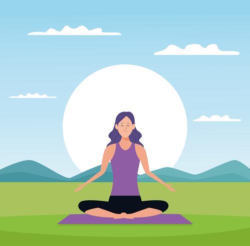 Frau in Yoga-Posen