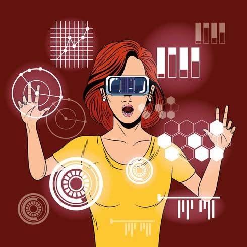 Kvinna som använder virtual reality-exponeringsglas