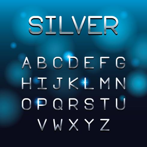 Silver font letters alphabet
