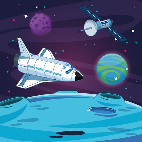 Vaisseau spatial dans la galaxie lactée