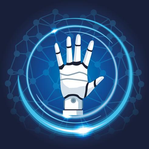 mão robótica mecatronica vetor