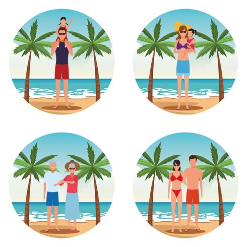 vacaciones en la playa familia vector