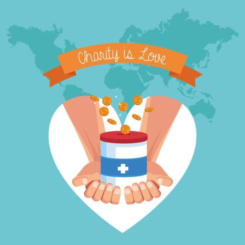 Caridad es amor dibujos animados vector