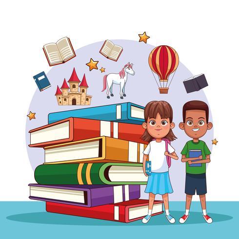 Niños leyendo cuentos de hadas vector