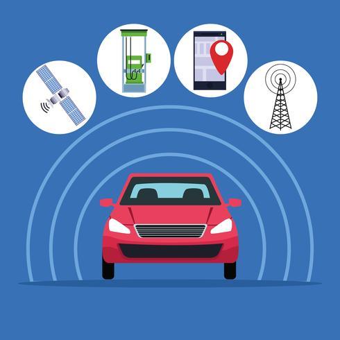 GPS concepto de servicio de coche de ubicación vector