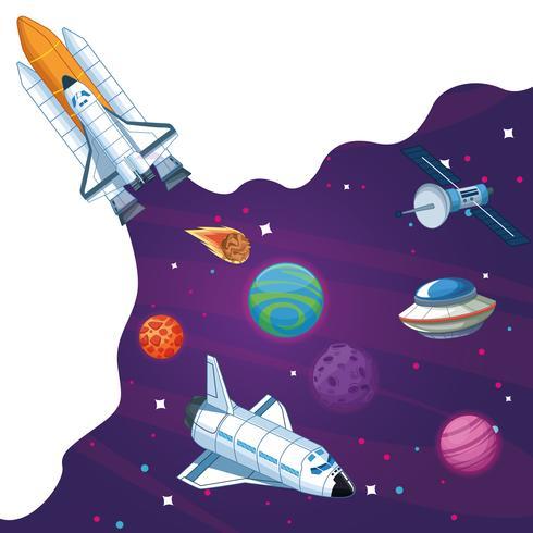 Nave espacial en la galaxia milkyway vector