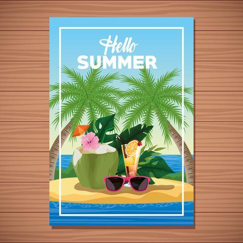 Hallo Sommerkartenplakat mit Cartoons vektor