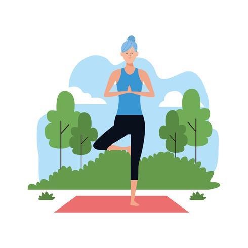 kvinna i yogaställningar