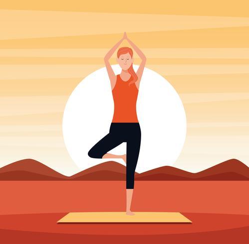 mulher em poses de ioga