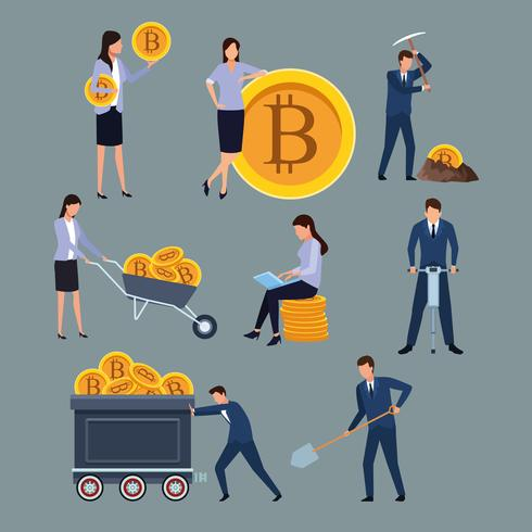 conjunto de homem de bitcoin de mineração digital e mulher