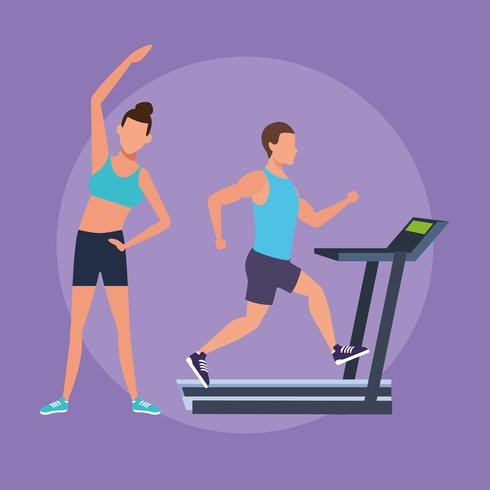 fitness couple doing exercise