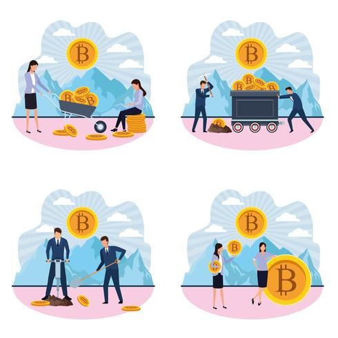 Conjunto de minería digital de mujeres y hombres bitcoin. vector