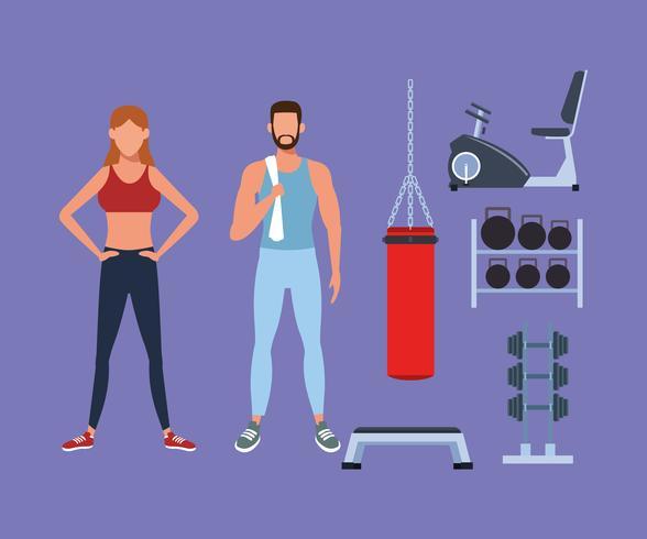 Pareja de fitness haciendo ejercicio vector