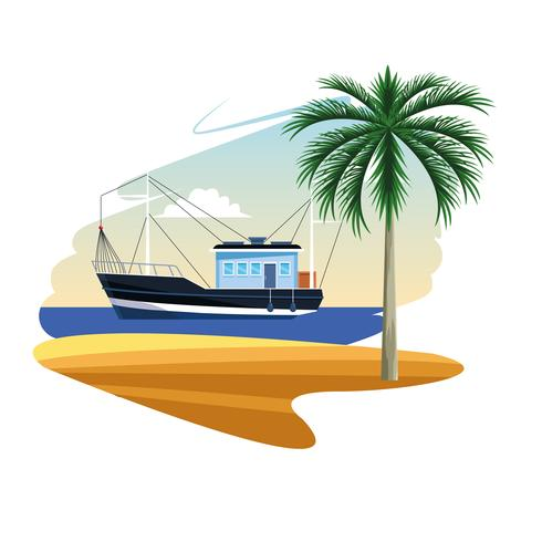 fishing boat cartoon vector