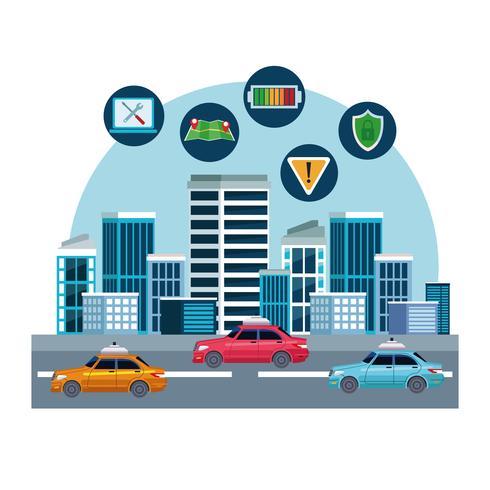 concepto de ubicación de servicio de coche de taxi vector