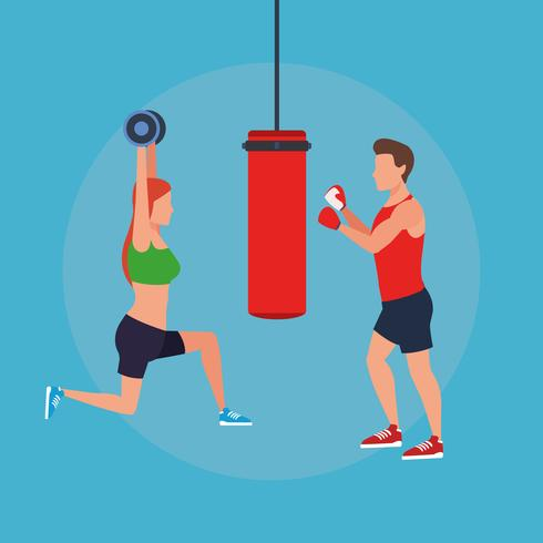 fitness couple doing exercise vector