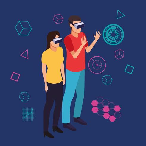 Pareja jugando con realidad virtual.