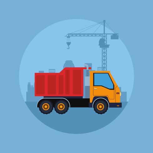 caricature de véhicule de construction