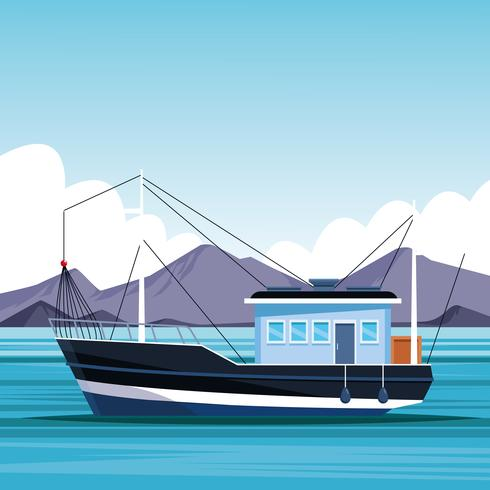 vissersboot cartoon vector