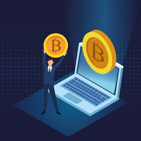 Tecnología de criptomoneda bitcoin vector