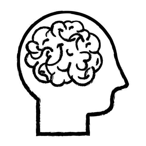 figure man with anatomy brain design vector