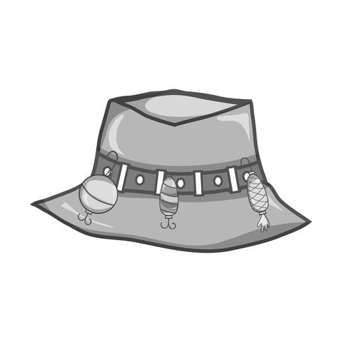 grayscale fishing peasant hat object, to warker vector