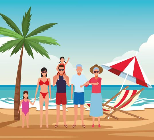 vakantie op het strand familie vector