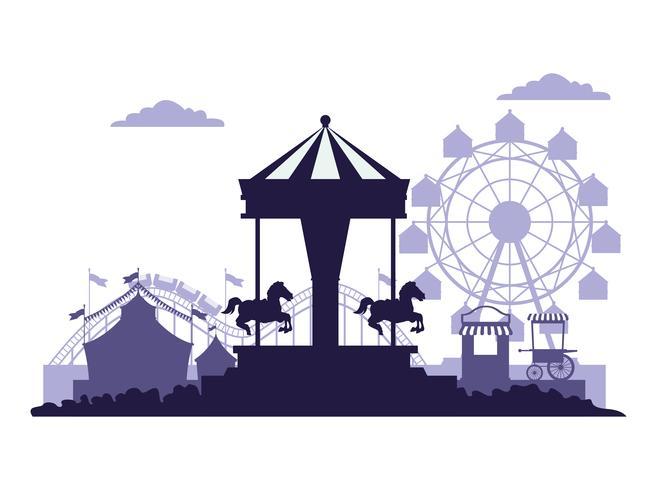 Blå och vita färger för cirkusfestivalslandskap