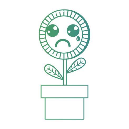 ligne kawaii mignon pleurer plante de tournesol