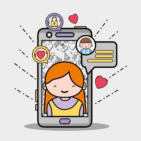 Smartphone con chica dentro y mensaje de burbuja de chat