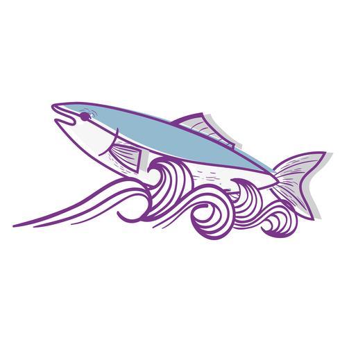 Pez animal en el mar con diseño de olas.