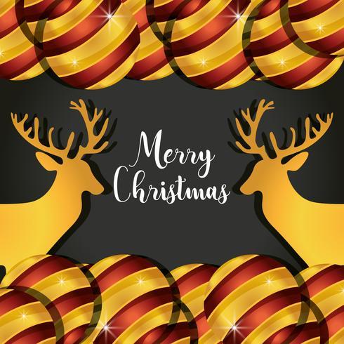 vrolijk kerst rendieren met ballen decoratie