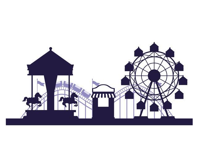 Colori blu e bianchi di paesaggio giusto di festival del circo vettore