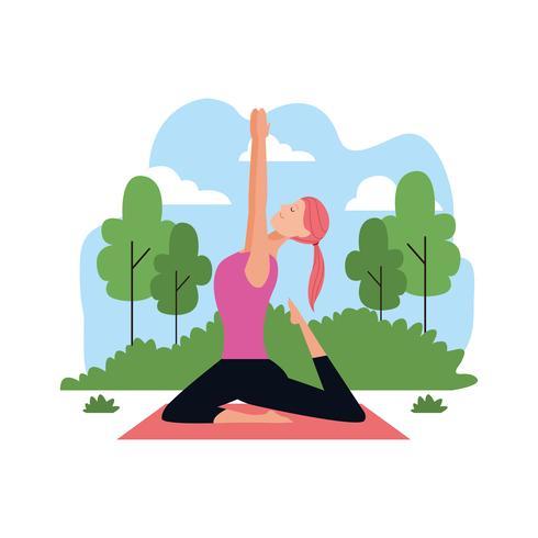 mujer en posturas de yoga vector