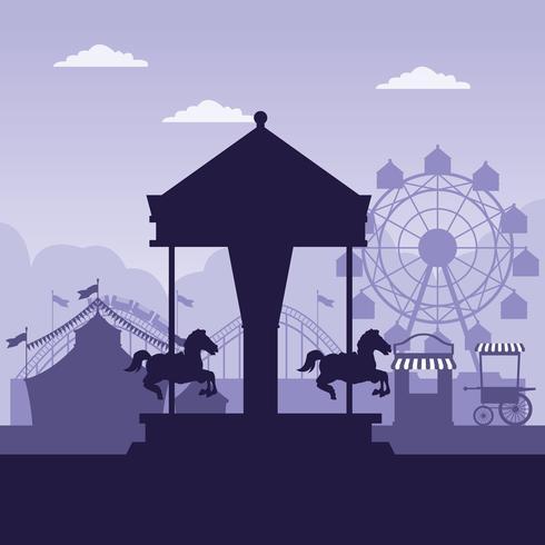 Colori blu e bianchi di paesaggio giusto di festival del circo
