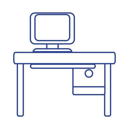 Línea oficina con tecnología informática y escritorio de madera.