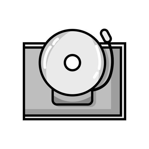 escala de grises escuela campana alerta objeto diseño vector