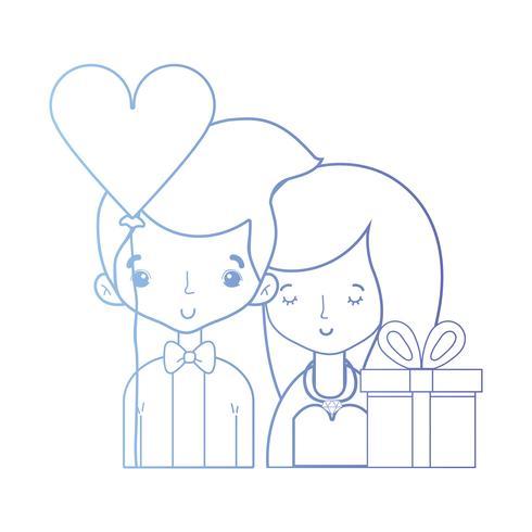 Línea de belleza pareja casada con diseño de peinado.