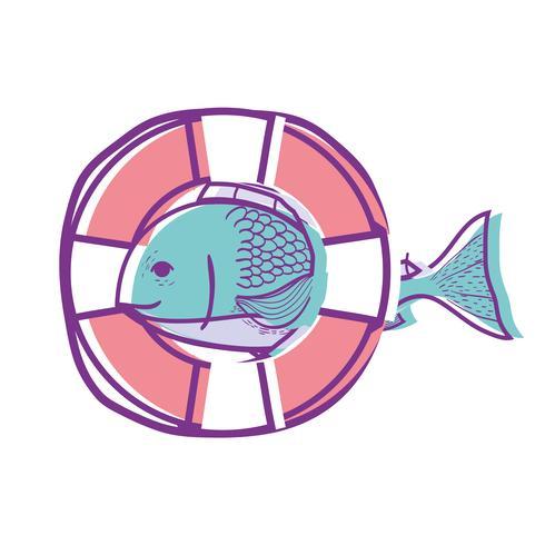 peixe com projeto de objeto de bóia de vida