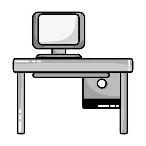 ufficio in scala di grigi con tecnologia informatica e scrivania in legno