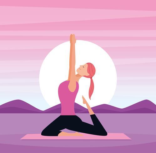 kvinna i yogaställningar vektor