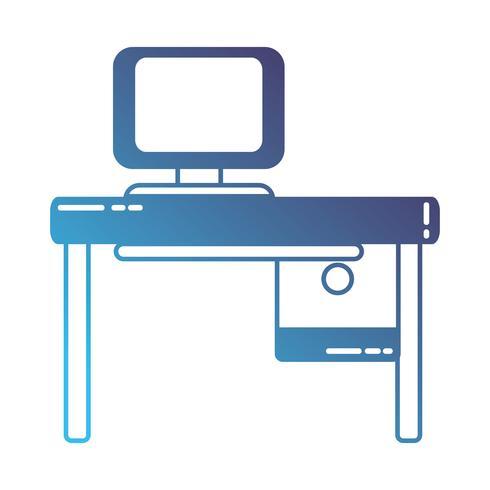 ufficio silhouette con tecnologia informatica e scrivania in legno