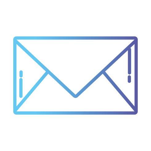 línea carta carta cerrada con información del mensaje