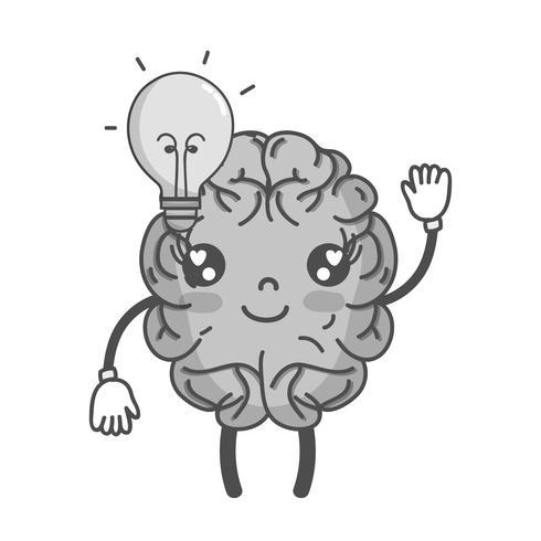 cerebro feliz kawaii en escala de grises con idea bombilla