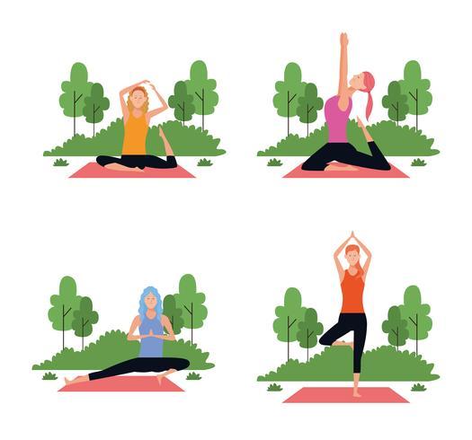 conjunto de mulher em poses de ioga vetor