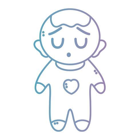 linje trevlig pojke med pijama och frisyr