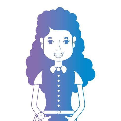 line avatar woman with hairstyle and blouse