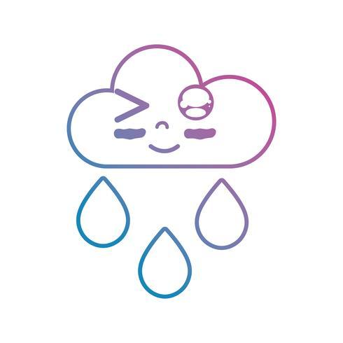 Linie kawaii niedlicher glücklicher Wolkenregen