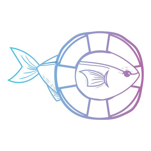 linje fisk med livboj objekt design vektor